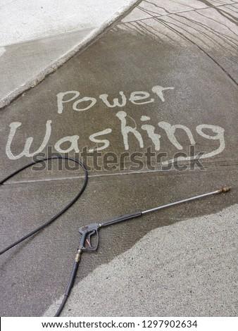 power washing concrete driveway #1297902634