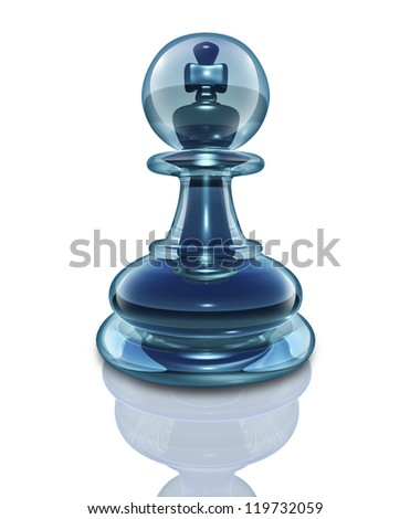 Power within and the potential to transform into a great leader by looking inside as a transparent glass chess pawn with a king piece hidden at the core on a white background.