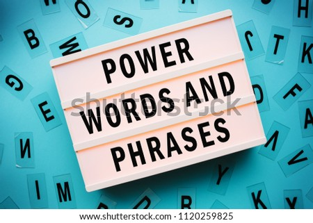 Power words and phrases concept with lightbox #1120259825