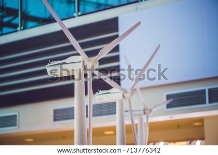 powerful and ecological energy concept .Industrial wind installation. #713776342