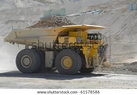 powerful and huge truck loaded with copper mining