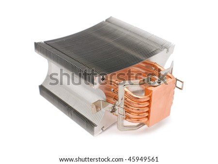 powerful cooler for computer central processor unit over white background