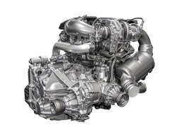 Powerful 4-cylinder gasoline engine of a modern car
