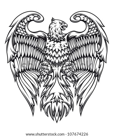 Powerful eagle or griffin in heraldic style, such a logo. Vector version also available in gallery