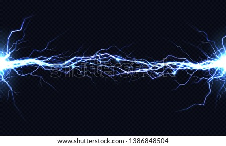 Powerful electrical discharge hitting from side to side realistic illustration isolated on black background. Blazing lightning strike in darkness. Electric energy flash light effect