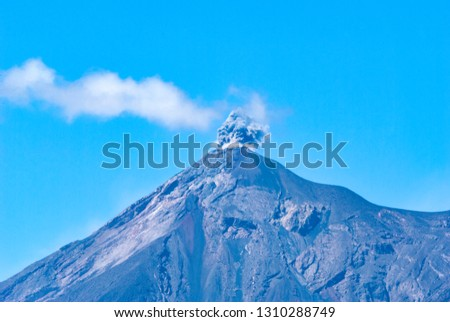 Powerful explosion of volcano called Fuego, Elevation: 3763 m in Guatemala, Central America. Natural disaster, destruction and death. #1310288749