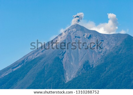 Powerful explosion of volcano called Fuego, Elevation: 3763 m in Guatemala, Central America. Natural disaster, destruction and death. #1310288752