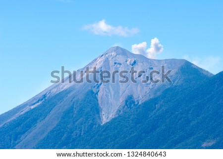 Powerful explosion of volcano called Fuego, Elevation: 3763 m in Guatemala, Central America. Natural disaster, destruction and death. #1324840643