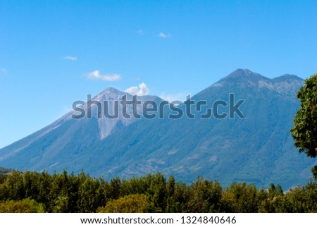 Powerful explosion of volcano called Fuego, Elevation: 3763 m in Guatemala, Central America. Natural disaster, destruction and death. #1324840646