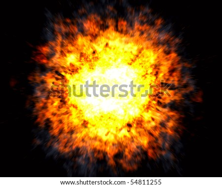 Powerful explosion with white hot center and blurred motion effect on black background