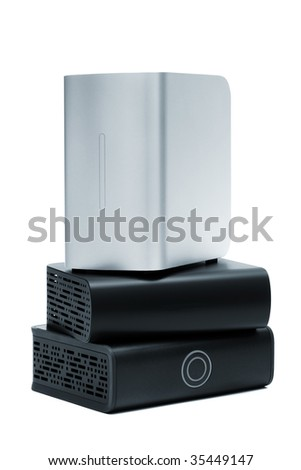 Powerful external hard drive on a white background
