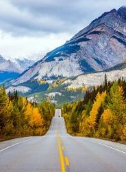 Powerful granite Rockies of Canada. The road 93