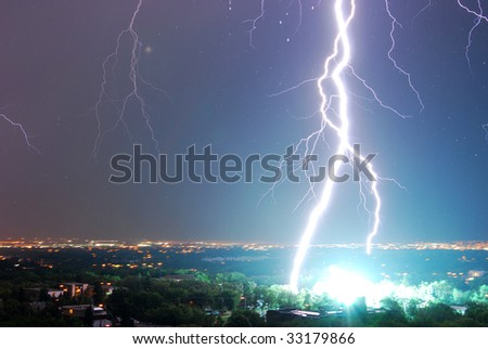 Powerful lightening in the sky at city edmonton, alberta, canada