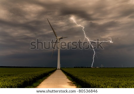 Powerful lightning strikes wind turbine in the afternoon