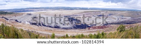 Powerful machines working in the open coal quarry