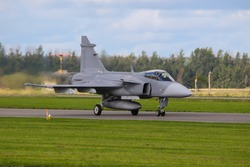 Powerful  military fighter on the runway. F-16 Fighting Falcon.