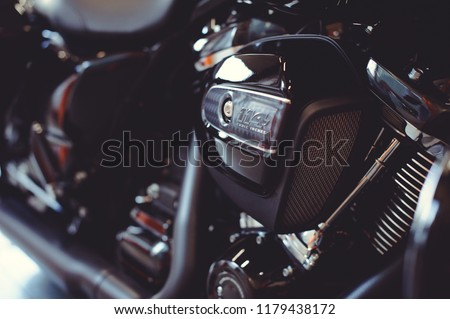 powerful motor of a modern motorcycle, air filter. #1179438172