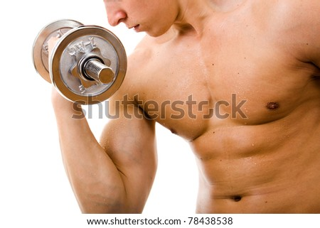 Powerful muscular man lifting weights, isolated on white
