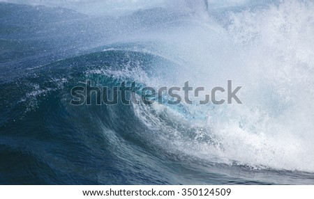 powerful ocean waves breakig by the shores of Gran Canaria #350124509