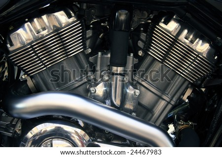 Powerful old style motorcycle V engine