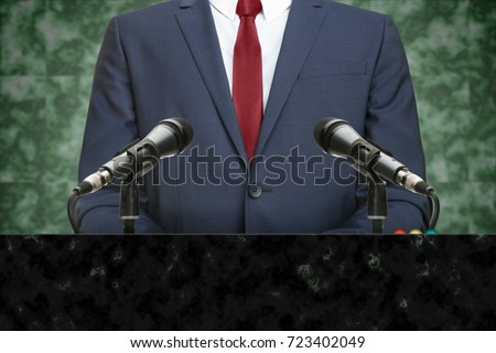 Shutterstock Powerful politician making speech from behind the pulpit