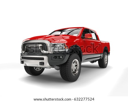 Powerful red modern pick-up truck - 3D Illustration