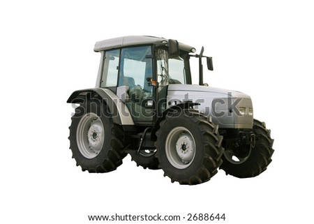 Powerful silver tractor isolated on white background
