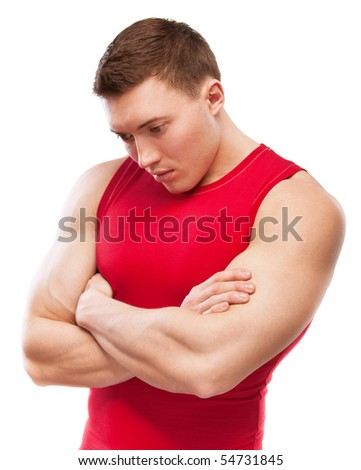 Powerful sportsman in red vest, isolated on white background.