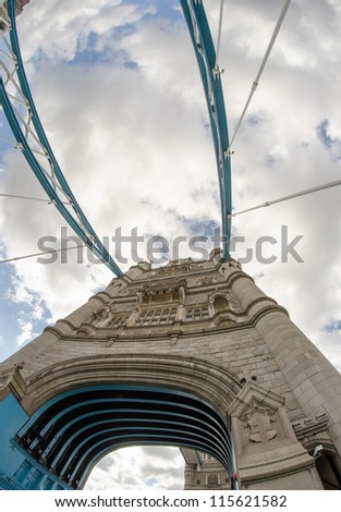 Powerful structure of Tower Bridge in London - UK