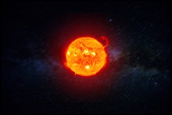 Powerful Sun in space. AThe solar prominence on the sun, solar radiation. The solar corona against the background of the milky way. Elements of this image furnished by NASA.