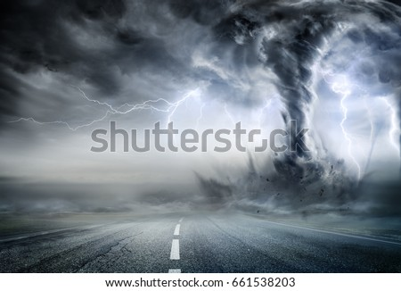Powerful Tornado On Road In Stormy Landscape