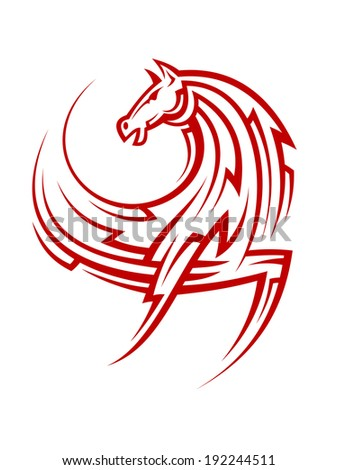 powerful tribal red horse for
