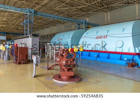 Powerful turbine in the steam turbine hall (nuclear power station)