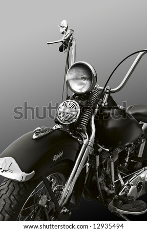 Powerful vintage motorcycle with clipping path