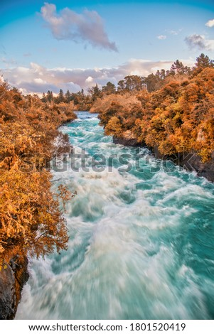 Powerful water currents in th Huka Falls, Taupo - New Zealand. Photo stock ©