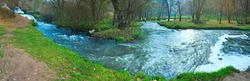 Powerful Waterfall on Autumn River (Nyrkiv, Ukraine). Three shots composite picture.