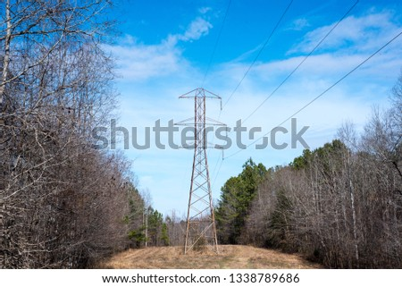 Powerline transmitting energy through a clearcut path through a Dense Forest