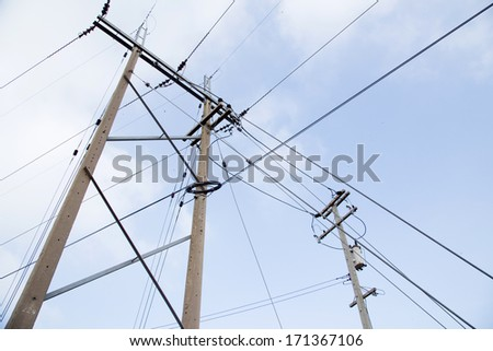 Powerlines against a background of the sky #171367106