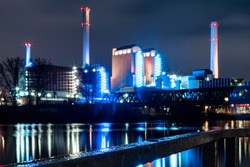 Powerplant on a rainy day at nighttime