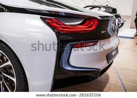 POZNAN - APRIL 10: BMW i8 shown at the Poznan Motor Show on April 10, 2015 in Poznan, Poland. #281635106
