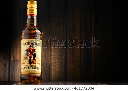 POZNAN, POLAND - JULY 27, 2016: Originated on US Virgin Islands Captain Morgan is a brand of rum produced by Diageo, British multinational alcoholic beverages company headquartered in London