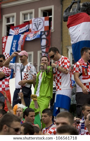 POZNAN, POLAND-JUNE 10: Croatian fans in Old Market Square in Poznan. Uefa Euro 2012. Match day Ireland-Croatia on Stadion Miejski in Poznan. Poznan on June 10, 2012