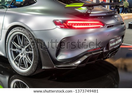 Poznan, Poland, March 28, 2019: Mercedes-AMG GT R PRO Roadster V8 bi-turbo with M178 engine at Poznan International Motor Show, high-performance sport car produced by Mercedes Benz #1373749481