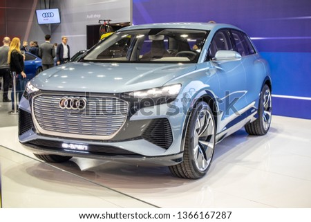 Poznan, Poland, March 28, 2019: New all-electric Audi Q4 e-tron concept prototype car – highly automated prototype for the future at Poznan International Motor Show, produced by Audi AG