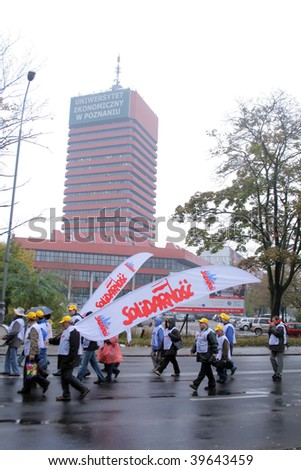 POZNAN, POLAND - OCTOBER 23: Polish 'Solidarnosc' workers from H.Cegielski factory and shipyards on manifestation over pay, unemployment and recession on October 23, 2009 in Poznan, Poland