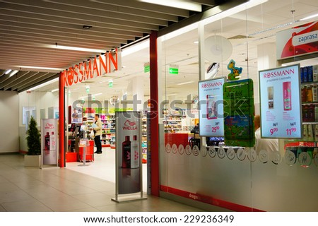 POZNAN, POLAND - SEPTEMBER 17, 2013: Entrance of a Rossmann store in a shopping mall
