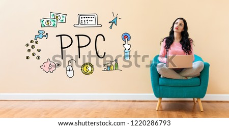 PPC with young woman using a laptop computer  #1220286793