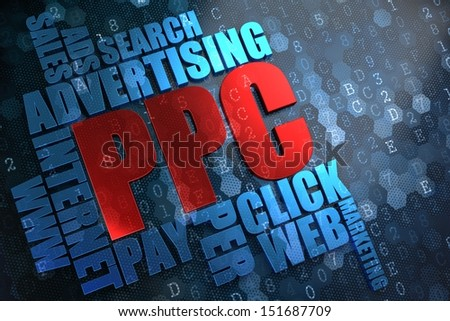PPC - Wordcloud Concept. The Word in Red Color, Surrounded by a Cloud of Blue Words.
