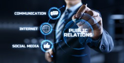 PR Public relations concept. Communication advertising marketing strategy.