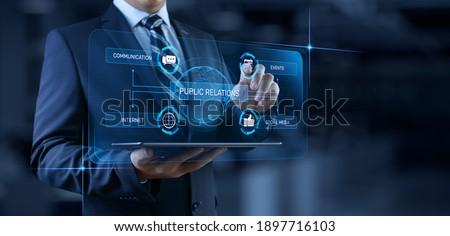 PR Public relations concept. Communication advertising marketing strategy. Stockfoto ©